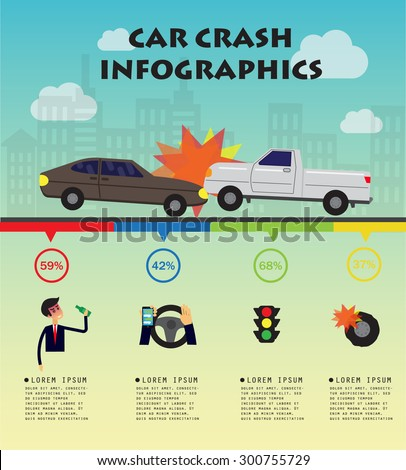 Car crash concept, infographics, vector illustration - stock vector