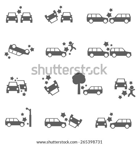 Car crash icons auto SUV accident bold set  - stock vector