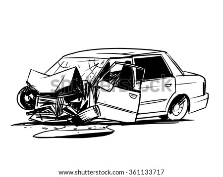 Car Crash Illustration Isolated On White Stock Vector 361133717 ...