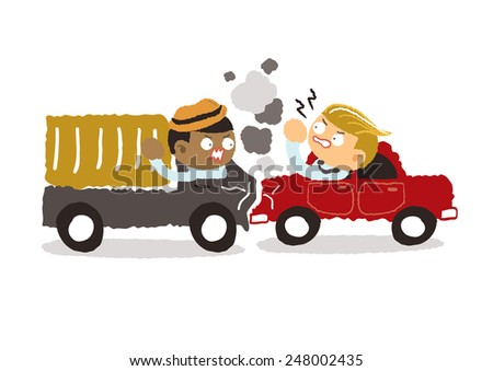 car crash in the city on a white background - freehand drawing vector Illustration - stock vector