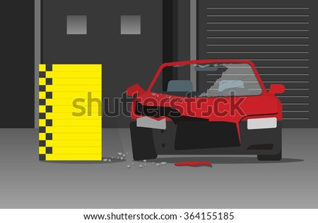 Car crash test vector illustration in dark garage, concept of car accident experiment, safety research, testing laboratory, crime, crashed car engineering analysis centre flat cartoon - stock vector