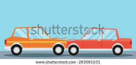 Car crash. Two cars hit head-on. Flat design. - stock vector