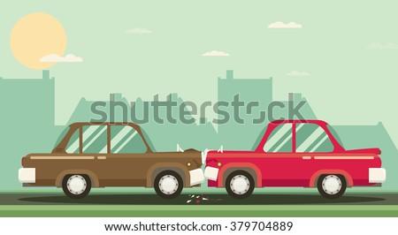 Car crash. Two cars hit head-on. Flat design. - stock vector