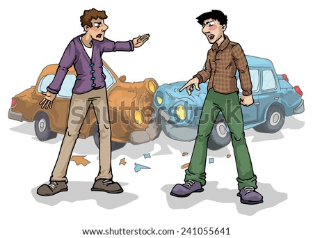 Car crash, two people arguing, vector illustration - stock vector