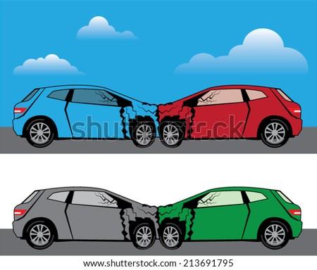 Car Crash vector - stock vector