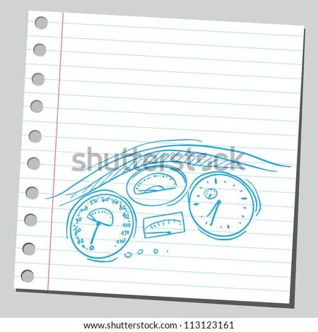 car dashboard - stock vector