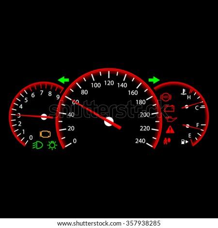 Car dashboard modern automobile control panel - stock vector