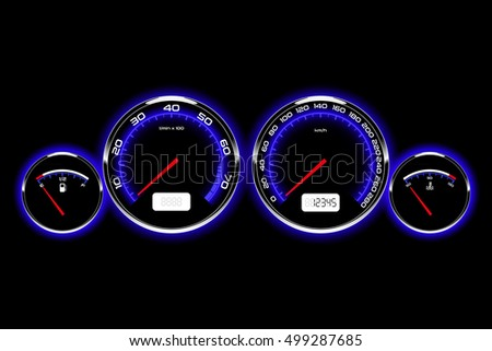 Car dashboard with chrome rings and blue backlight, vector illustration