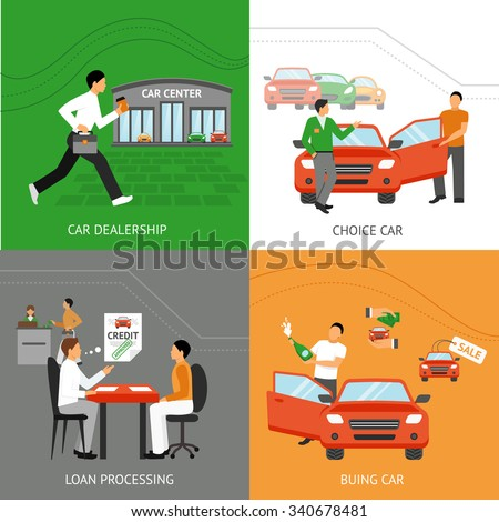 Car dealership design concept set with car choice process flat icons set isolated vector illustration - stock vector