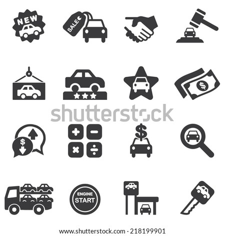 Car Dealership Silhouette icons| EPS10 - stock vector