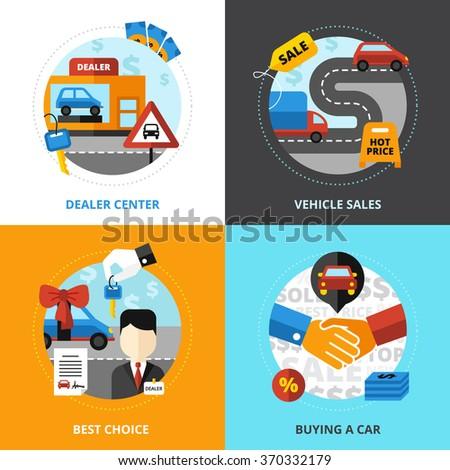 Car dealership 2x2 design concept set of dealer center vehicle sale buying automobile flat vector illustration   - stock vector