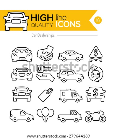 Car Dealerships line icons - stock vector