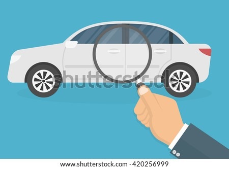 Car diagnostic concept. Hand with magnifying glass inspecting a car. Flat style