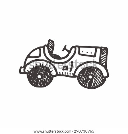 car doodle drawing - stock vector