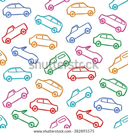 Car Doodles Pattern Seamless Background - stock vector