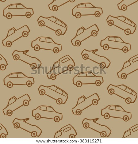 Car Doodles Pattern Seamless Brown Background
