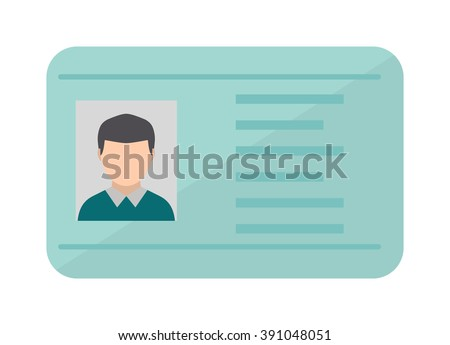Car driver license identification with photo isolated, driver license vehicle identity vector. Driving national standard license flat vector illustration.  - stock vector