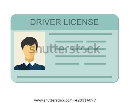 Car driver license identification with photo isolated on white background, driver license vehicle identity in flat style. - stock vector