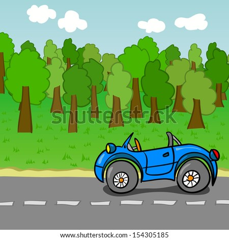 Car Driving On A Road - stock vector