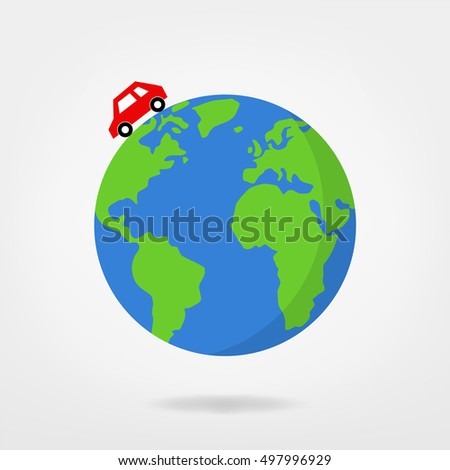 car driving on globe / world map - vector illustration