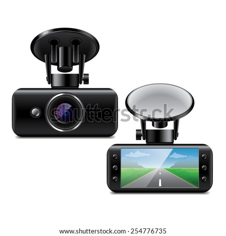 Car DVR isolated on white photo-realistic vector illustration - stock vector