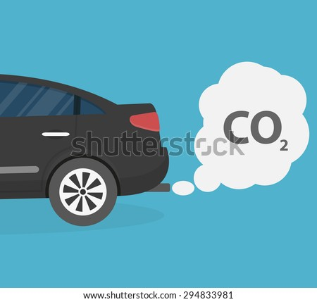 Car emits carbon dioxide - stock vector