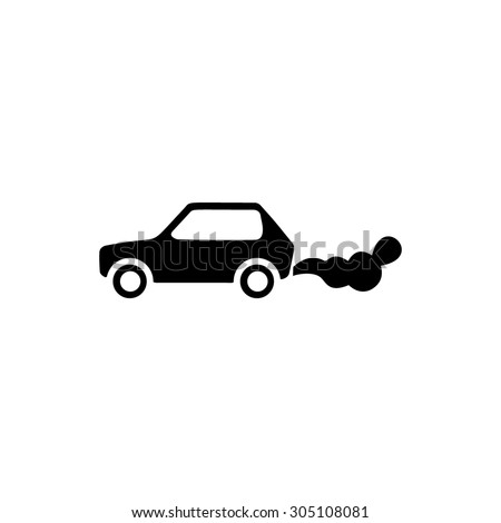 Car emits carbon dioxide. Black simple vector icon - stock vector