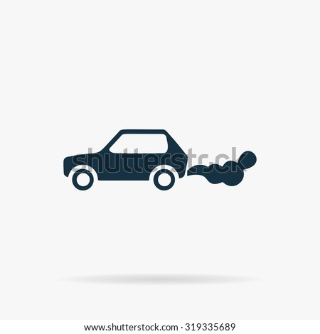 Car emits carbon dioxide. Flat vector web icon or sign on grey background with shadow. Collection modern trend concept design style illustration symbol - stock vector