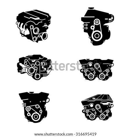 Car Engine Icons vector. - stock vector