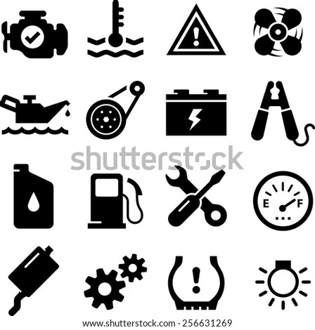 Car engine parts. Vector icons for digital and print projects. - stock vector