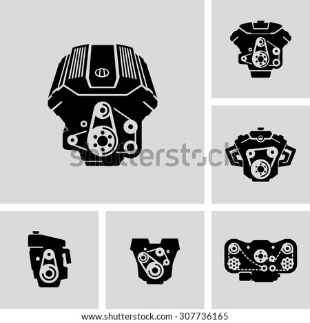 Car Engine Vector Icons  - stock vector