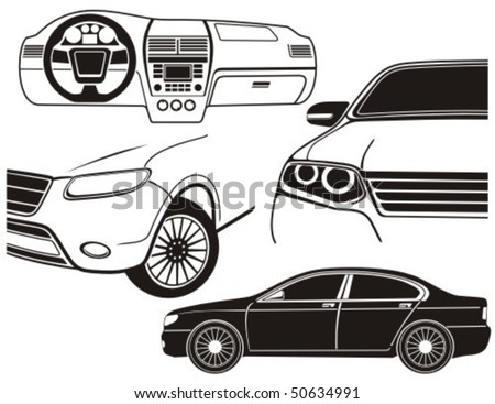 Car exterior and dashboard view. Vector illustration. - stock vector