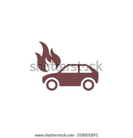 Car fire. Colorful vector icon. Simple retro color modern illustration pictogram. Collection concept symbol for infographic project and logo - stock vector