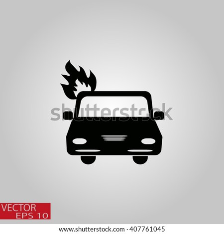 Car fired Icon Vector. Car fire