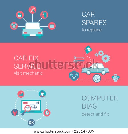 Car fix service spares mechanic shop diag concept flat icons set vector web banners illustration print materials website click infographics elements collection - stock vector