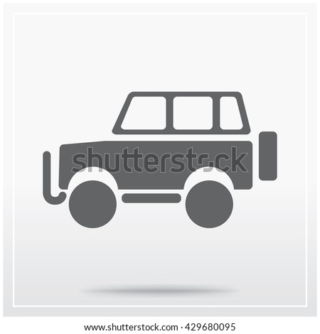 Car. Flat icon of graphical symbol of a road vehicle, powered by an internal combustion engine. Vector illustration - stock vector