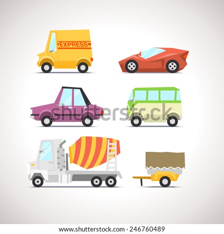Car Flat Icon Set 5 - stock vector
