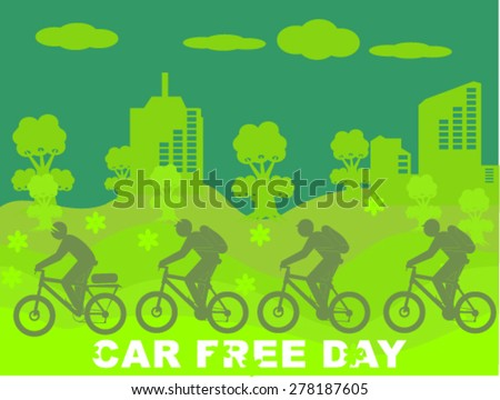 car free day ecology - stock vector