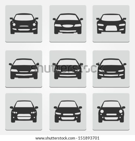 Car front icons - stock vector