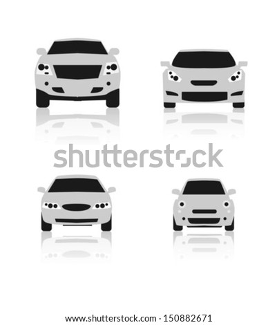Car Front Icons Set  - stock vector