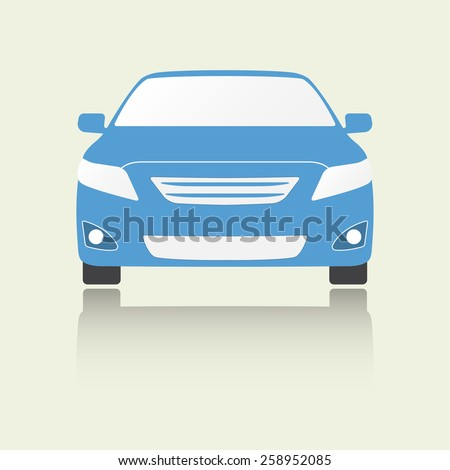 Car front view icon or sign. Colorful vector illustration. Flat design. - stock vector