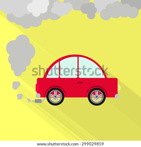 Car fuming. Red car steaming the exhaust pipe. Air pollution. Flat design with long shadow. - stock vector