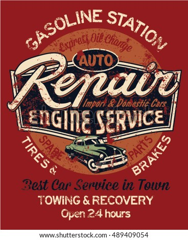 Car Garage Repair Service Print T Stock Vector (2018) 489409054    Shutterstock