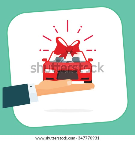 Car gift badge vector illustration, hand holding red auto with bow label, automobile gift logo concept, flat happy symbol, free delivery service ribbon, sticker icon design isolated on white, sign - stock vector