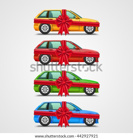 Car gift color set, template design element, Vector illustration - stock vector