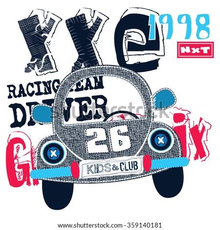 car grand prix, T-shirt design vector illustration - stock vector