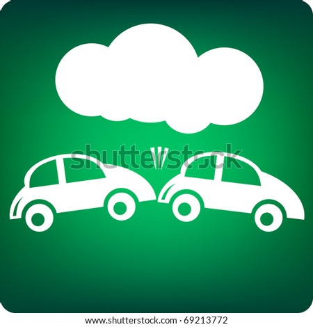 Car hitting another car with bubble on top - can be used for text space - stock vector