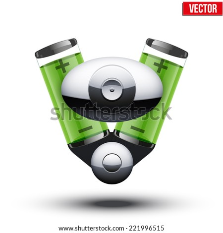 Car hybrid engine with batteries. Vector illustration isolated on white background. - stock vector