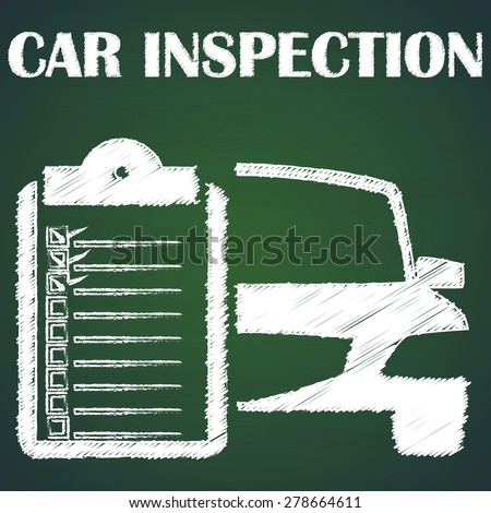 car icon and message boards check the car with a check mark in the box, that's normal. paint by chalk on blackboard - stock vector