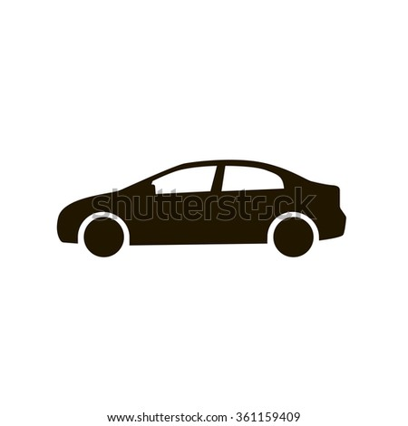 Car icon. Black silhouette of automobile isolated on white background. Flat design style eps 10 vector illustration for your design and business. - stock vector